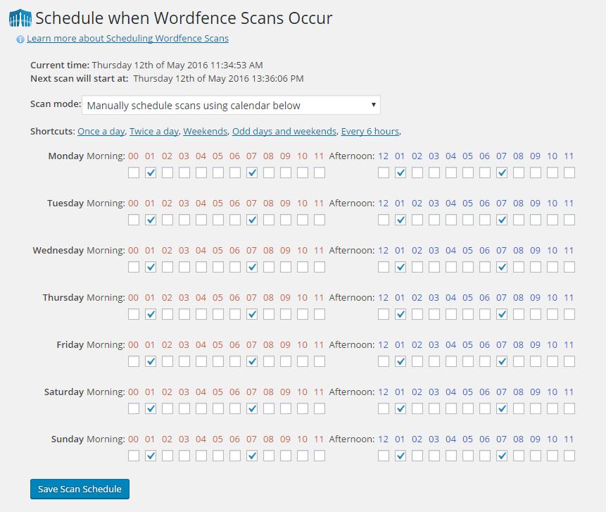 Ausführungsplan für den Wordfence Scan