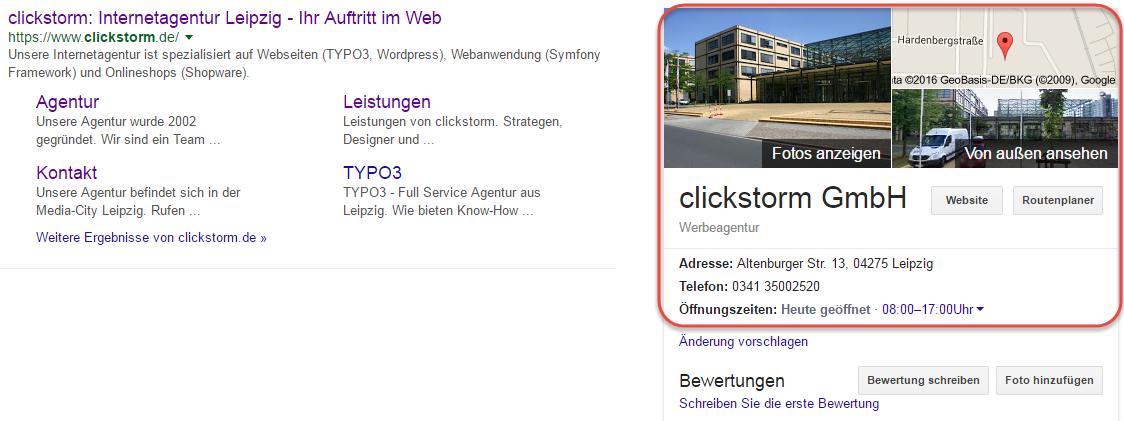 Darstellung von clickstorm bei Google