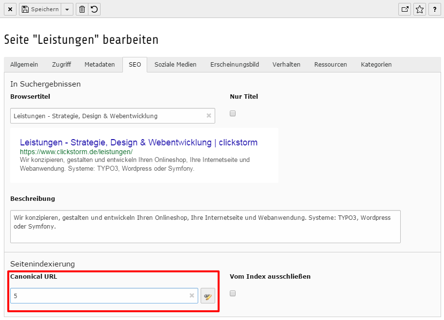 TYPO3 Pflege des Canonical-Tags mit cs_seo