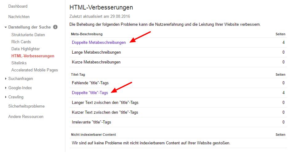 Google Search Console - HTML Verbesserungen