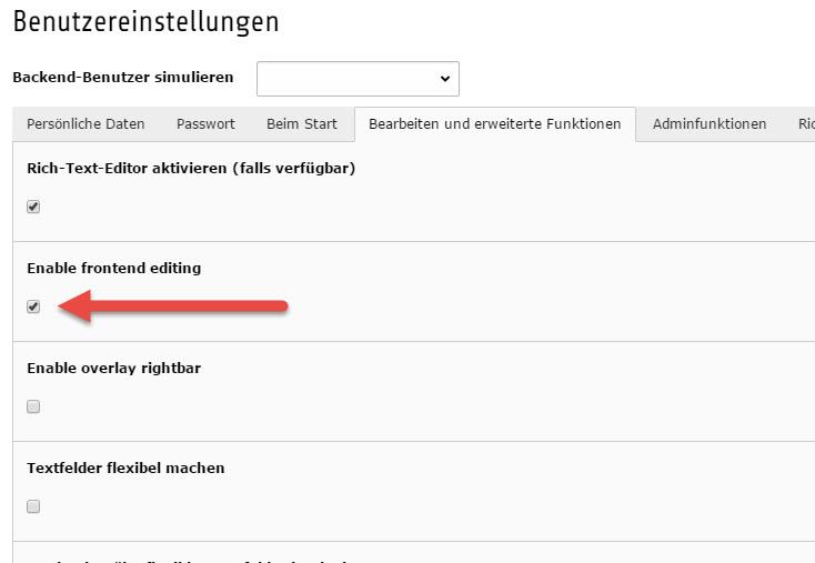 Frontend Editing in TYPO3 7.6 Nutzereinstellungen aktivieren