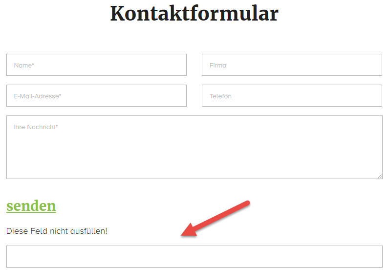 clickstorm Kontaktformular mit Honeypot-Feld