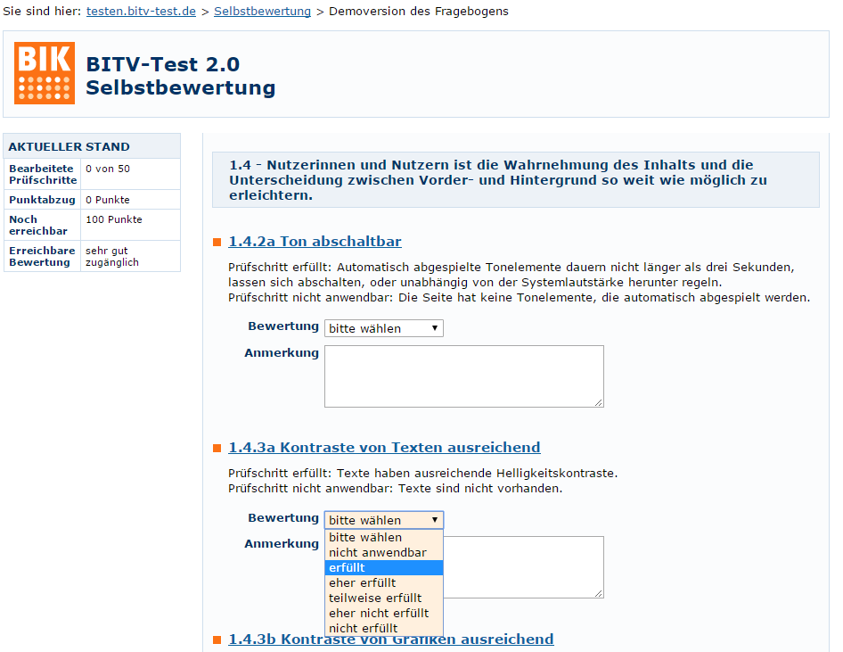Screenshot BITV-Test