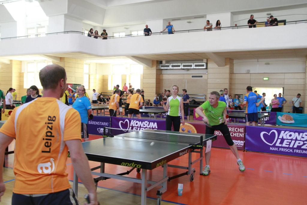 Spiel beim Leipzig Tischtennis Firmen-Cup 2017