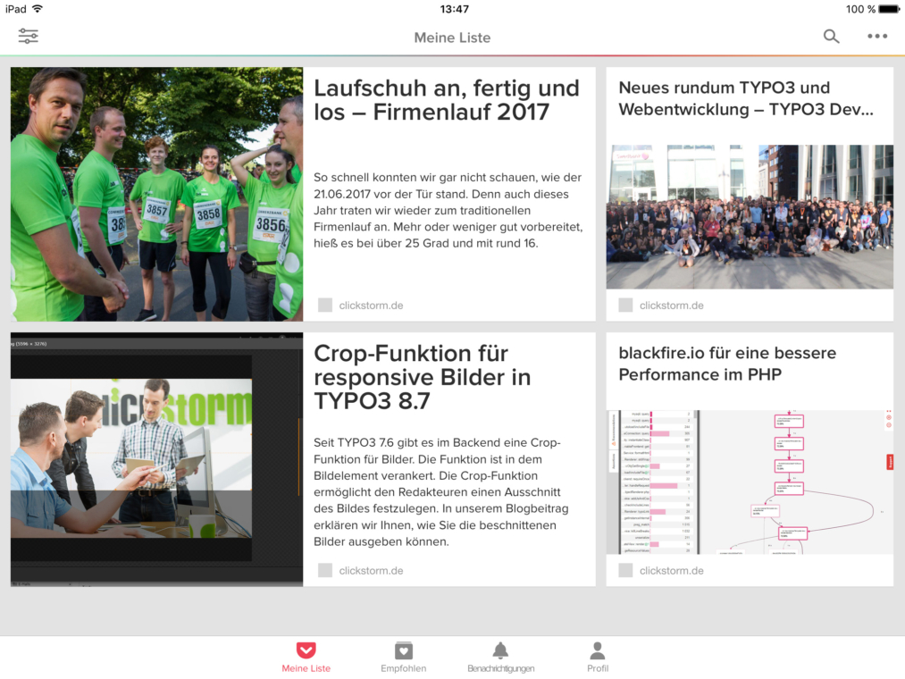 pocket App auf dem iPad mit clickstorm Inhalten