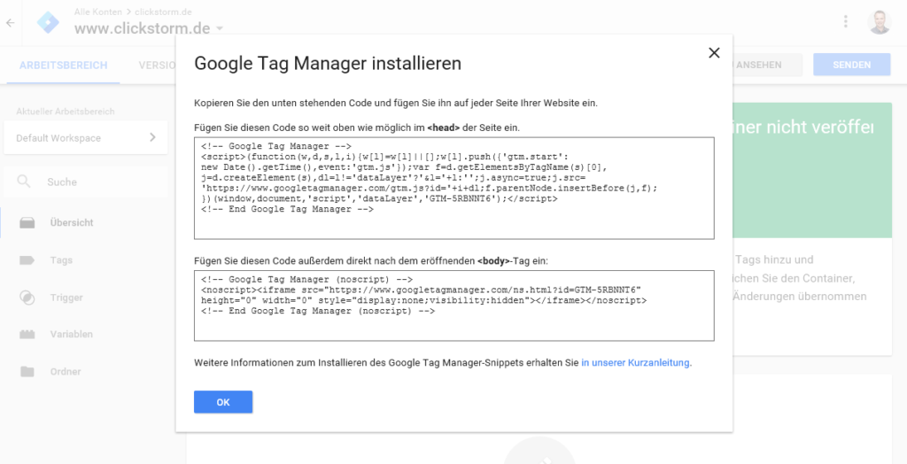 Google Tag Manager, Code installieren