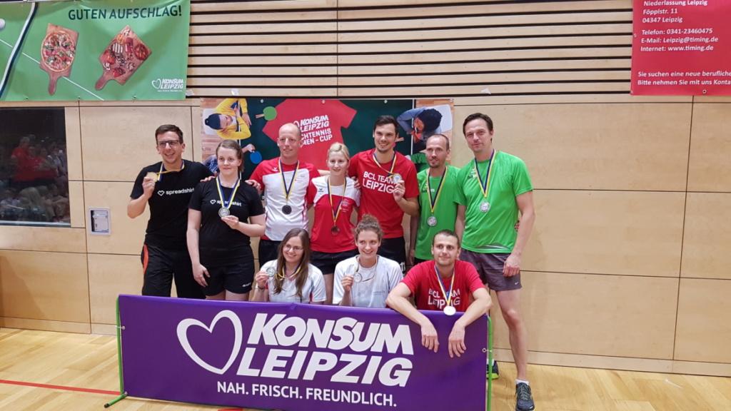 Tichetennis Firmencup Leipzig 2018 Medaillengewinner