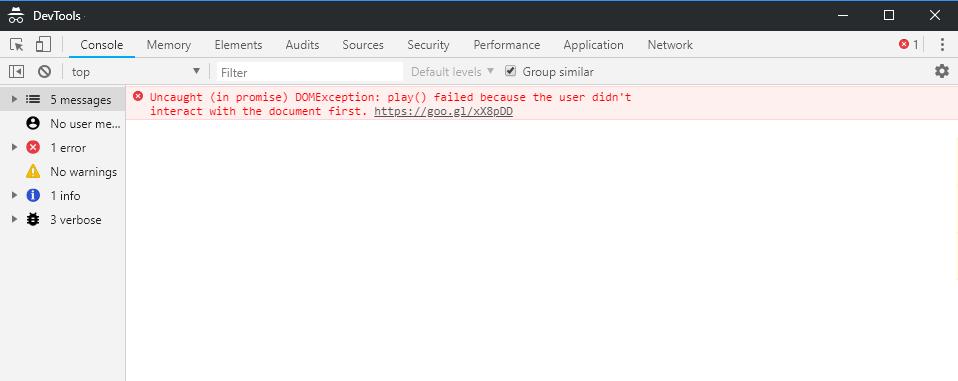 Fehlerhinweis zur Autoplay Policy im Google Chrome