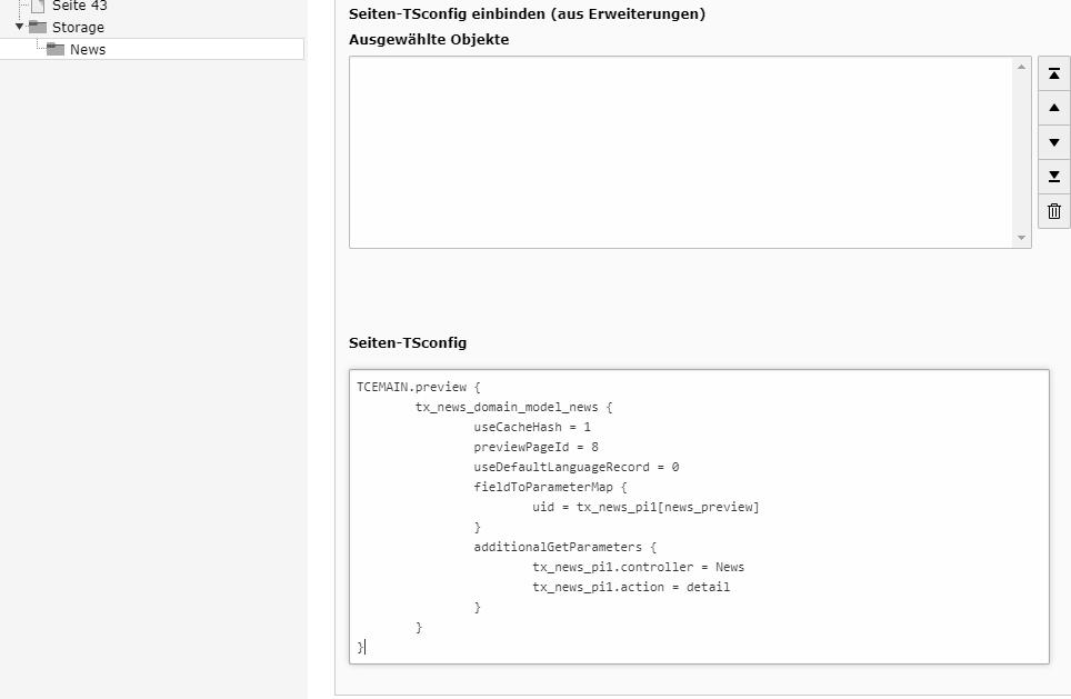TYPO3 Speichern und Anzeigen: PageTS hinzufügen