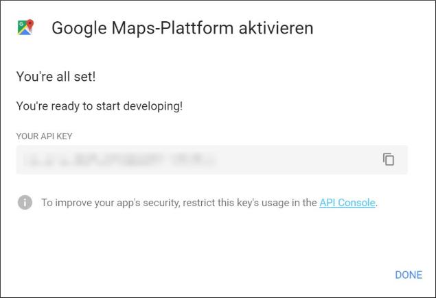 Google Maps API Key Beispiel