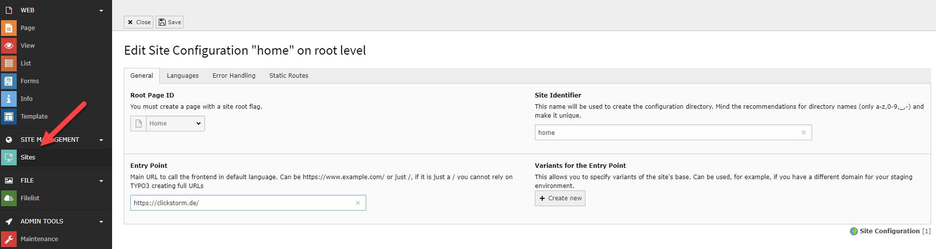 So sieht das neue Sites-Modul in TYPO3 v9.5 LTS aus und nimmt uns viel Arbeit ab.