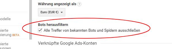 Google Analytics: Bots und Spider filtern