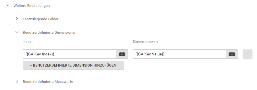 Tag Manager Dimension Analytics Key