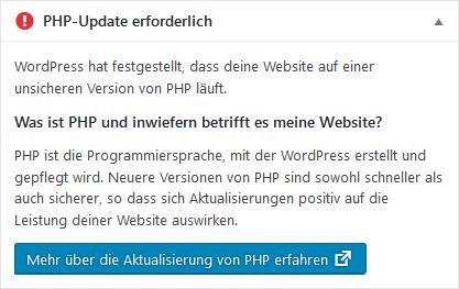 Wordpress Hinweis PHP-Update erforderlich