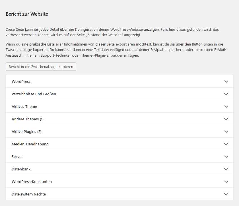 Wordpress Status Bericht zur Website