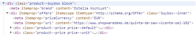 HTML-Microdata-Auszeichnung eines Angebots in Shopware