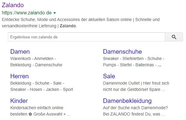 SERP-Snippet mit Suche und Sitelinks