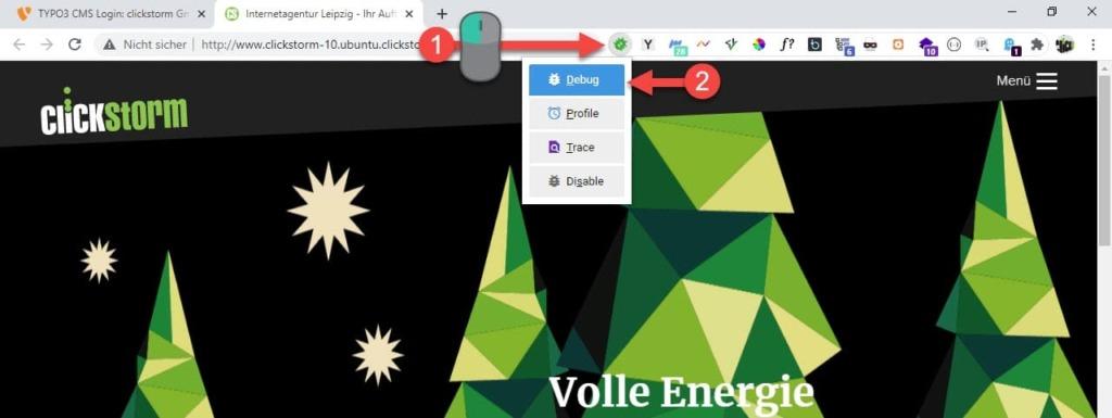 Kontextmenü der Browser-Erweiterung Xdebug Helper im Google Chrome
