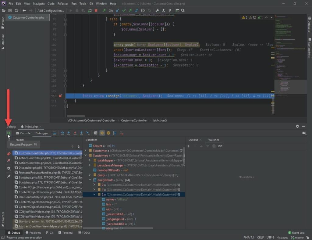 Xdebug Session in PhpStorm mit Button zum Fortsetzen