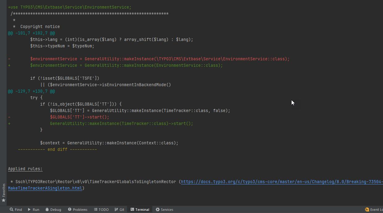 Beispielhafte Anzeige der PHP-Änderungen via TYPO3 Rector in der Shell