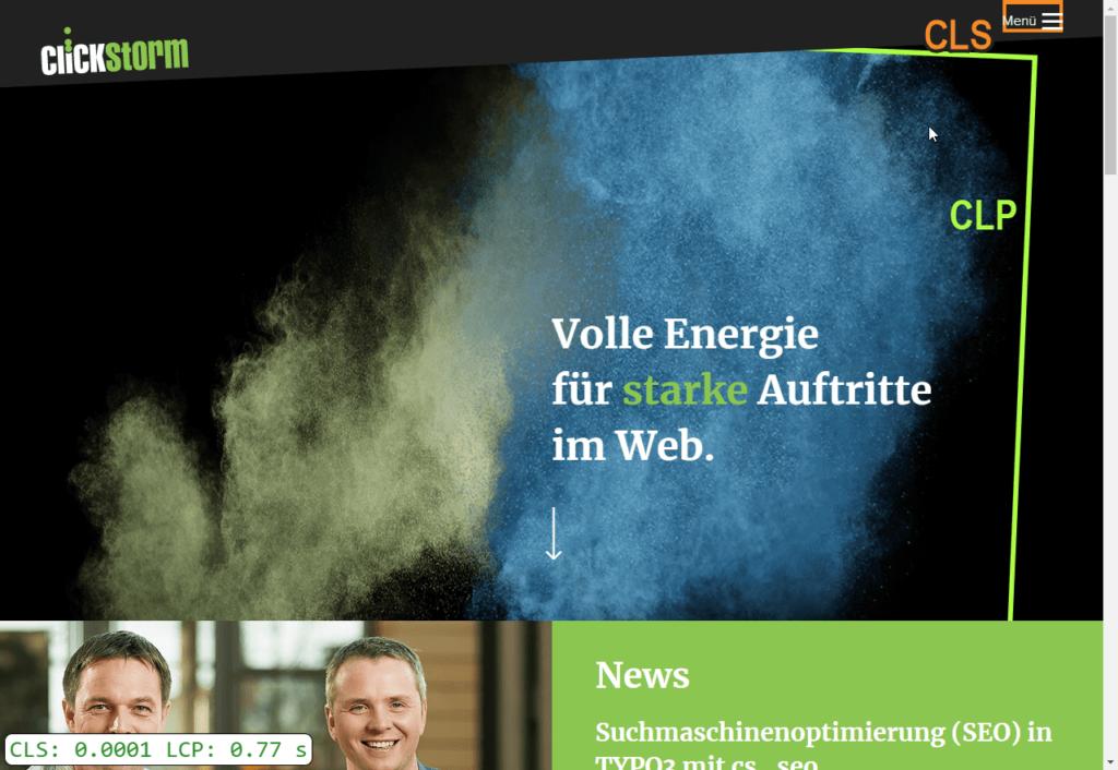 Umrahmte Core Web Vitals Elemente der clickstorm.de Webseite